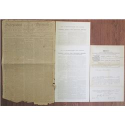 Farmers' Mutual Fire Insurance Co. Policy, 1851 with By-Laws as well as a 1798 Independent Chronicle