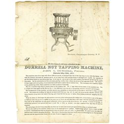 Durrell Nut Tapping Machine Dunkirk NY Patented 1871 2 pg. flier