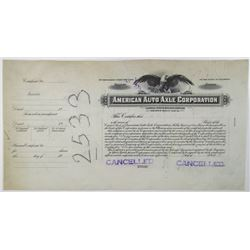 American Auto Axle Corp., 1920-30's Progress Proof Stock Certificate