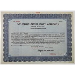 American Motor Body Co. 1920's Specimen Stock Certificate, Became a Division of Chrysler