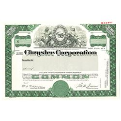 Chrysler Corp. 1986 Specimen Stock Certificate
