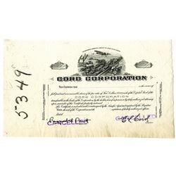 Cord Corporation, ca.1910-1920 Progress Proof Stock Certificate