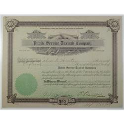 Public Service Taxicab Co. 1919 Stock Certificate