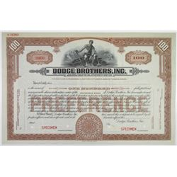 Dodge Brothers, Inc., ND (ca.1920's) Specimen Stock.