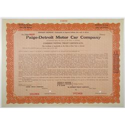 Paige-Detroit Motor Car Co. 1932 Specimen Voting Trust Stock Certificate