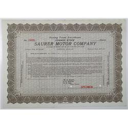 Saurer Motor Co., 1911 Specimen Stock Certificate