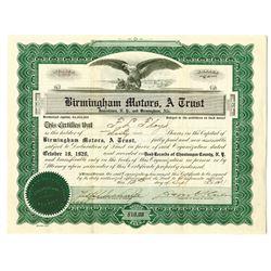 Birmingham Motors, A Trust, 1921 I/U Stock Certificate