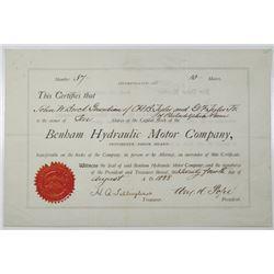 Benham Hydraulic Motor Co. 1888 I/U Stock Certificate
