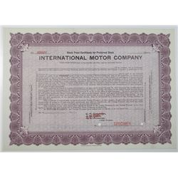 International Motor Co., 1911 Specimen Stock Certificate