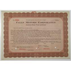 Falls Motor Corp., 1920 Specimen Stock Certificate