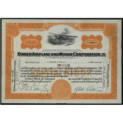 Kinner Airplane and Motor Corporation1937 I/U Stock Certificate.