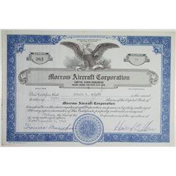 Morrow Aircraft Corp. 1841 I/C Stock Certificate