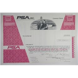 PSA, Inc. 1974 Specimen <100 Shares Odd Shrs Stock Certificate Aviation Rare XF