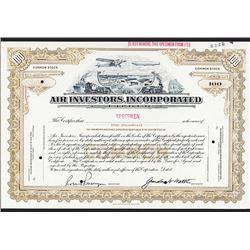 Air Investors, Inc., 1930's Specimen Stock Certificate