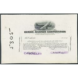 Bendix Aviation Corp. 1930's Progress Proof Stock Certificate.