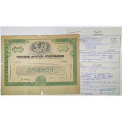 Republic Aviation Corp., 1961 Proof Stock Certificate & Plant Order Form