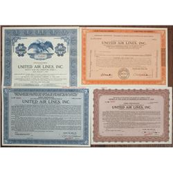 United Air Lines, Inc., 1950-59  Specimen Stock and Bond Quartet