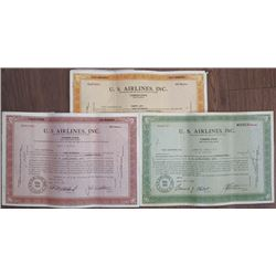 U.S. Airlines, Inc., 1946 to 1954 Stock Certificate Trio