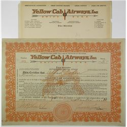 Yellow Cab Airways, Inc. 1930 I/U Stock Certificate and Letterhead Pair