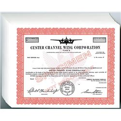 Custer Channel Wing Corp., 1960-70's Specimen Stock Certificate Group.