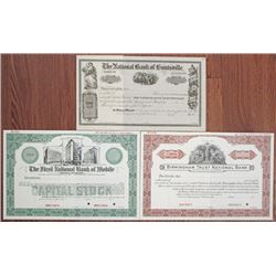 Alabama Banking Stock Certificate Trio, ca.1860's to 1930.