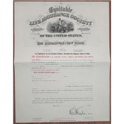 Equitable Life Assurance Society of the U.S., 1885  Unissued or Specimen Insurance Premium Policy