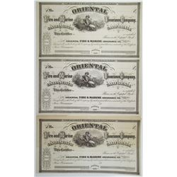 Oriental Fire and Marine Insurance Co. of San Francisco, 1860's U/U California Stock Trio