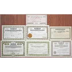 California. Nevada, Western Banking Stock Certificate Group of 7, 1890-1936.