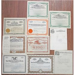 Group of 10 Banking Stock Certificates and Ephemera, ca.1879 to 1930