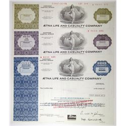 Aetna Life and Casualty Co., 1979 Specimen Stock Certificate Trio.