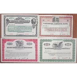 Connecticut Banking Specimen Stock Certificate Quartet, ca.1900-1930