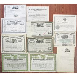 Connecticut Banking Stock Certificate Group of 11, 1899-1949.