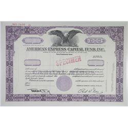 American Express Capital Fund, Inc., 1970 Specimen Stock Certificate