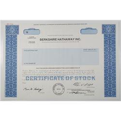 Berkshire Hathaway Inc. 1996 Specimen Stock Certificate