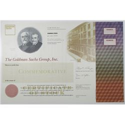 Goldman Sachs Group, Inc., 1998 Commemorative IPO Specimen Stock Certificate