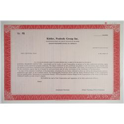 Kidder, Peabody Group Inc., 1986 Specimen Stock Certificate