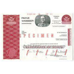 Paine Webber Inc. 1976 Specimen Stock Certificate