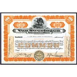 Van Sweringen Corp. 1931 I/U Stock Certificate.