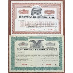 Georgia and Florida Banking Specimen Stock Certificate Pair, ca.1900-1920