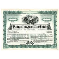 Hungarian American Bank of New York, ca. 1910-19 Specimen Stock Certificate