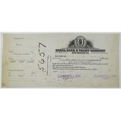 Canal Bank & Trust Co. 1920-30's Progress Proof Stock Certificate