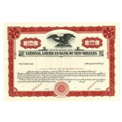 LA. National American Bank of New Orleans, 1920s 500 Shrs Specimen Stock Cert