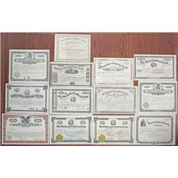 Maine Banking Stock Certificate Group of 13. ca.1860-1930