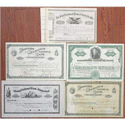 Maryland Banking Stock Certificate Quintet, ca.1901-1943.