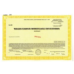 MA. Wells Fargo Mortgage Investors, 1970s Odd Warrants Specimen Certificate, XF