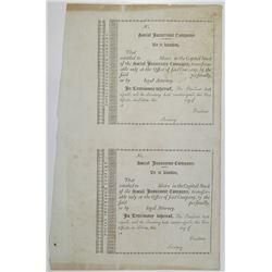 Massachusetts, Social Insurance Co., 18xx (ca.1809-1814) Uncut Stock Certificate Pair