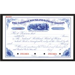 National Rockland Bank of Boston Specimen Share Certificate, ca.1900-1920s with Charming Santa Claus
