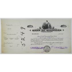 Bank of Michigan, 1910-20 Progress Proof Stock Certificate