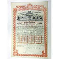 Journal Co. 1893 Specimen $1000 6% Gold Coupon Bond VF HLBN