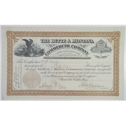 Butte & Montana Commercial Co., 1892 I/U Stock Certificate